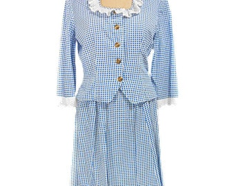 vintage 1940s dress set / cotton / blue white checkered / prairie country / gingham / 30s 40s dress / women's vintage outfit / size large