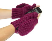 Convertible Texting Mittens, You pick color, Made to Order