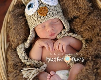 Crochet Owl hat, Newborn Hat, Knit Owl hat, Ready to Ship