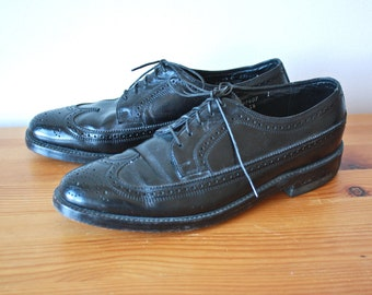 Vintage Florsheim Black Oxford Brogues Mens 8 1/2