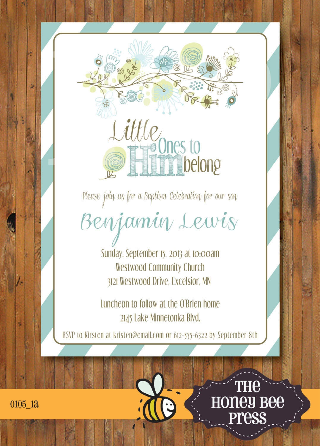 baptism invitation     little ones to him by thehoneybeepress