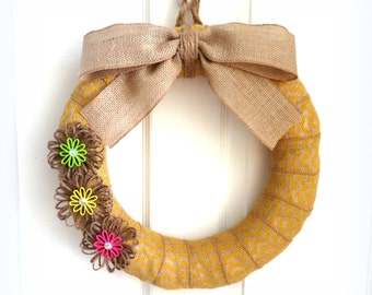 Spring Wreath - Chevron Burlap Wreath - Spring Burlap Wreath w/Jute Flowers - Choose Your Size - Choose Your Burlap