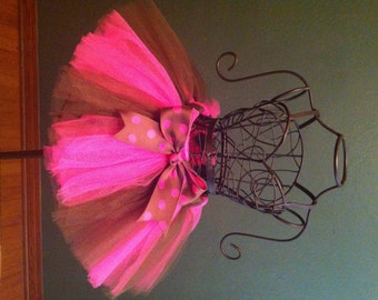 Hot Pink and Brown Fluffy Custom Made Baby Girls Tutu