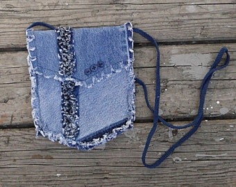 Blue Jeans Hip Bag - Denim Pouch - Upcycled Blue Jeans Small Purse .