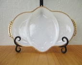 White Relish Platter  - Fire King Dish, Gold Trim Milk Glass Serving Plate Tray, 3 Section, Vintage 1950s / Mid Century Retro Kitchen