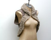 RESERVED FOR BERNICE Ready to Ship: Taupe and Flax 100% Natural Fiber Merino Wool Hand Knitted Vest with British Wool Fur Collar