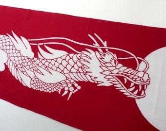 dragon fabric japanese tenugui, Japanese cotton fabric, cute fabric, tenugui, kawaii fabric, red Japanese fabric, boy fabrics, judo fabrics