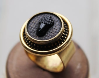 Acorn, Antique Button Ring, Adjustable Ring, Victorian Black Glass and Gold, Upcycled Antique Button Jewelry by Donna Sutor, veryDonna