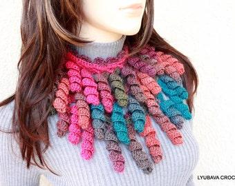 CROCHET SCARF PATTERN Womens Crochet Lariat Curly Tassels, Unique Crochet Scarf Pattern Tutorial, Instant Download Lyubava Pattern Pdf No.51
