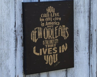 "16""x20"" New Orleans Lives in You distressed fleur de lis gallery wrapped canvas"