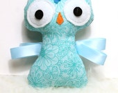 Baby Ribbon Tag Owl Plush - Blue Flowers - Ready To Ship