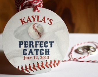 24 BASEBALL GIFT TAGS - party favors - custom text - 3 inch circle - Twinery Baker's Twine - 24 - two dozen