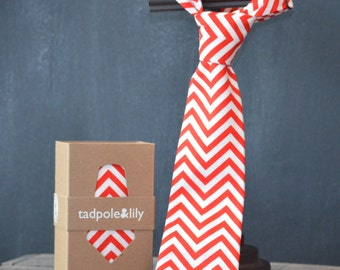 Boy's Neck tie in Red Chevron