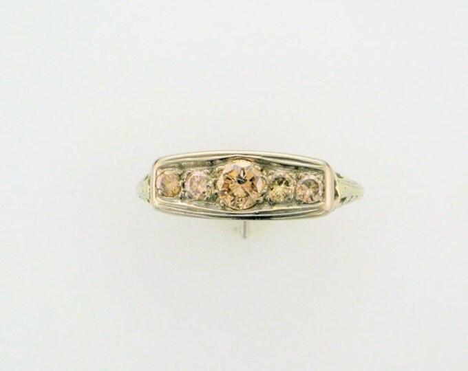 18 Karat White Gold Champagne Colored Diamond Filigree Straight Line Ring