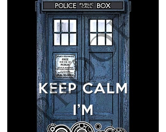 Doctor Who Keep Calm Tardis Wine Label Custom & Personalized Available