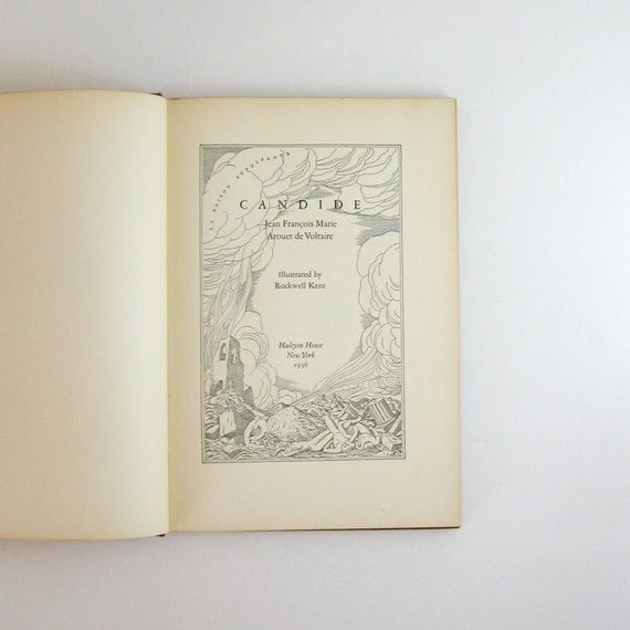 Candide - Voltaire - Vintage 1936 Book - Illustrated by Rockwell Kent - Red Hardcover - Collectible 1930s Edition - Illuminated Manuscript