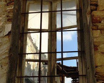 The Sky Inside, fine art photography, old window, bars, wood, stone, blue, rust, distressed, abandoned, Greek village, Lesvos Greece