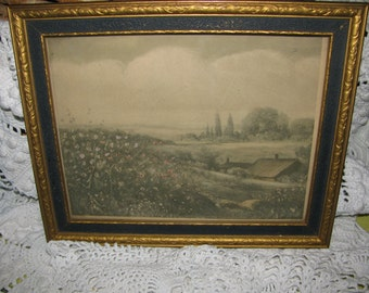 SALE Art Deco Gold and Blue Picture Frame with Landscape Tinted Litho 1929 FREE U.S.A. Shipping and Tracking Included in Price