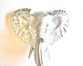Faux Taxidermy Small Elephant Wall Hanging in silver: Heather the Elephant