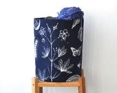 Indigo Fabric Storage Bin, Nursery Storage Hamper, Medium Fabric Basket, Toy Storage Bin, Supply Storage Basket