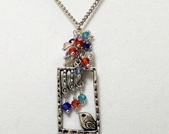 Bird Necklace Birdcage Pendant Necklace Antique Silver Birdcage With Shimmer Crystal Cluster Necklace