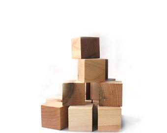 Eco Friendly Wooden Blocks - Building Blocks - Organic - Local - Sustainable - Baby Toys - Montessori Unit cubes - Set of 15