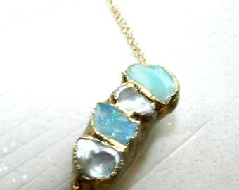 fire opal bracelet, raw fire opal, gold bracelet, pearl bracelet, keshi pearl, layering bracelet