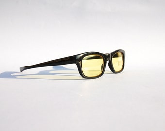 Vintage 90s Yellow lens Sunglasses / w Black Frame - Seapunk/Grunge/Acid House/Rave Culture