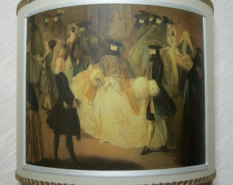 """Wall Light Half Lampshade Pietro Longhi """"Il Ridotto"""" (The Foyer) Parchment Wall Lamp - Handmade in Italy"""