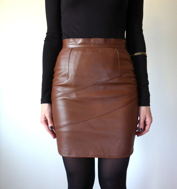 Brown High Waisted Leather Skirt // Vintage Mini Skirt