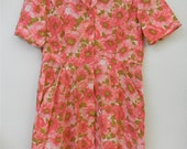 Issues M L Vtg 1960s Vintage 60s Floral Pink Medium Large Housedress Day-dress  Dress