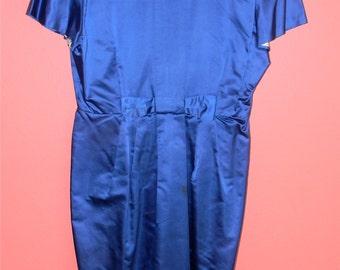 Vintage Dress 60s Dress Shiny Blue Dress Back Metal Zipper Handmade Dress Medium Extra Large M L XL Classic Wiggle Dress Jacket