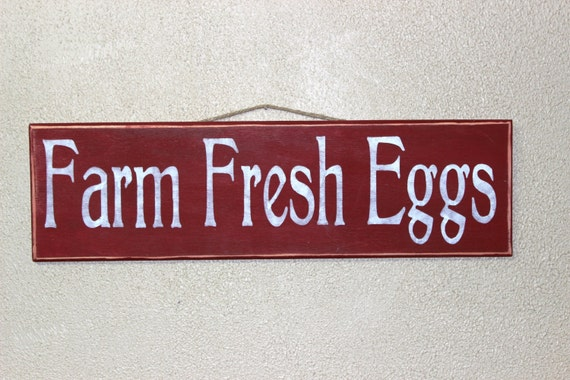 Farm Fresh Eggs -- Wooden sign - Hand painted  -  Red and White - Chickens - Chicken Coop - Farmhouse Decor - Homestead - Egg Sign