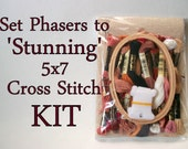 Cross Stitch KIT -- Set Phasers sampler patterns with all materials necessary for stitching Patrick Stewart face version