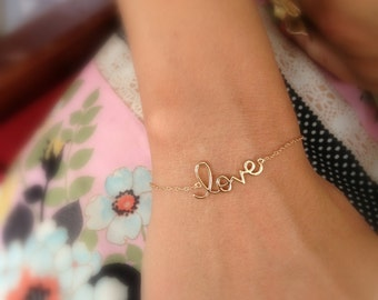 Cursive Sterling Love Bracelet