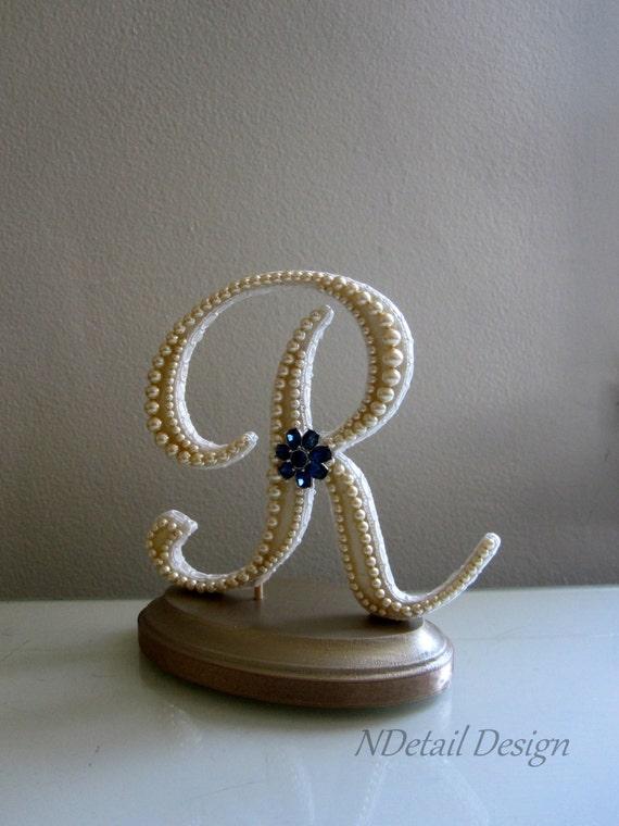 Vintage Monogram Wedding Cake Toppers Items similar to Weddi...