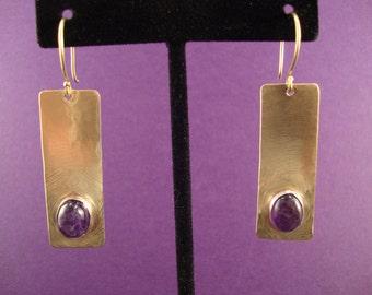Tequila Sunset Earrings: Amethyst in Sterling Silver Bezel on Brass Earrings