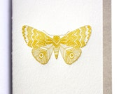 Letterpress Luna Moth gift card- tribal, mustard yellow, letterpress, cotton paper, tree-free, hand drawn, recycled envelope