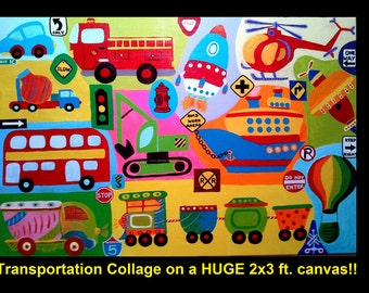 Transportation collage 2x3 feet car truck firetruck space rocket road signs Acrylic handpainted on HUGE 24x36 inch canvas for kids room