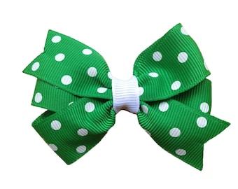 Green & white polka dot hair bow - green bow