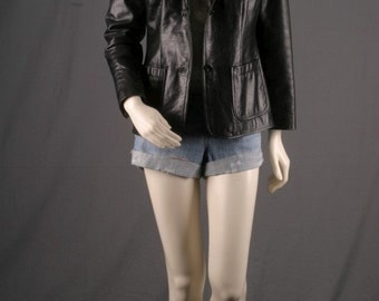 Leather jacket black vintage women cropped size S small