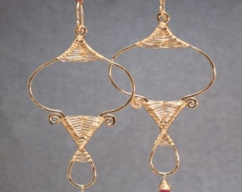 Hammered loops with your choice of stone Nouveau 148