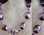 """Purple Color Amethyst Necklace - Amethyst Faceted Flat Rectangular Beads c/w Round Amethyst Beads and Czech Crystal  Spacers - 22""""lg (56cm)"""