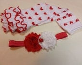 Valentine's Day Leg Warmers Set, Red Heart Leg Warmers, Girls Ruffle Leg Warmers, Matching Red Flower Headband, Girls Valentines Outfit