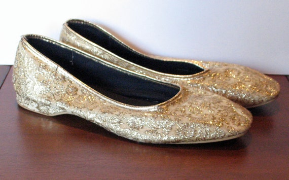 Vintage 1960s Golden Lame Flat Shoes - 8.5 US