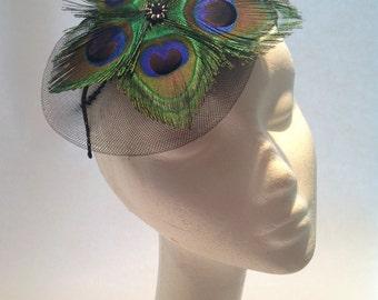 Peacock Feather Headband- Peacock Facinator- Peacock Hat- Flapper- 20's Headdress- Jazz Age -Kentucky Derby- Headdress NY- Swing Dance Party