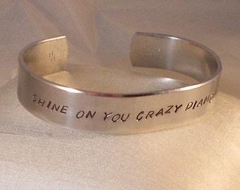 Shine On You Crazy Diamond  -  Metal Stamp Bracelet (HC3.75rA+G,UC)