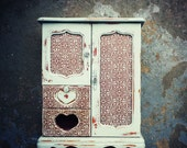 S H A B B Y  French Armoire Jewelry Box, Hand Painted Unique Gift