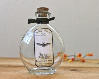 Bat Ears Apothecary Bottle Halloween Potion Black Vampire