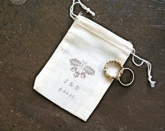 Personalized wedding ring bag, ring warming, ring bearer, Autumn fall acorns, custom initials and wedding date, ring bag, cotton ring bag
